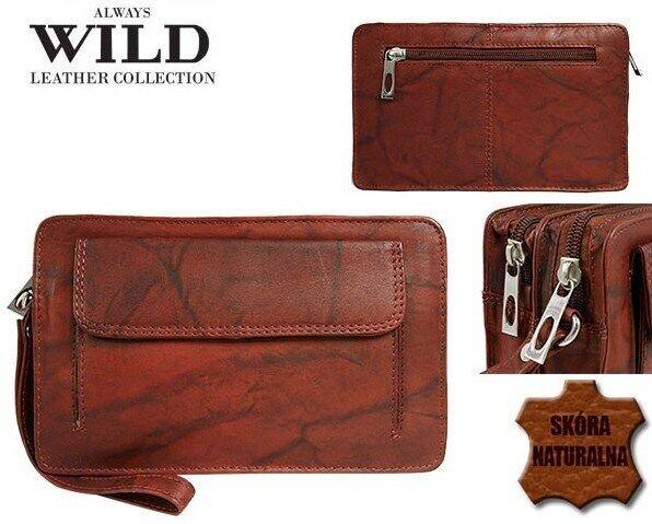 Мужская кожаная барсетка, клатч Always Wild 1265BS красная