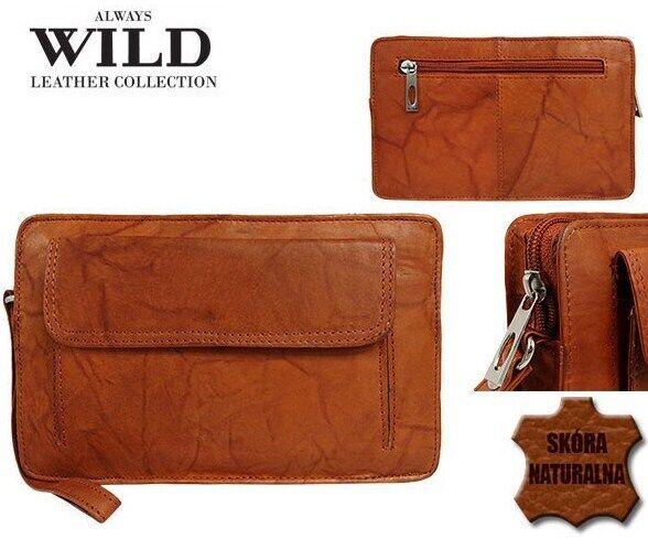 Мужская кожаная барсетка, клатч Always Wild 1264BS рыжий