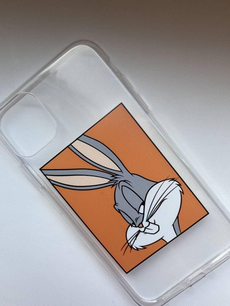 Прозрачный силиконовый чехол на айфон 11 с bugs bunny