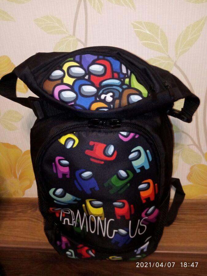 Красивенный комплект рюкзак Амонг ас Among us с бананкой для школьника
