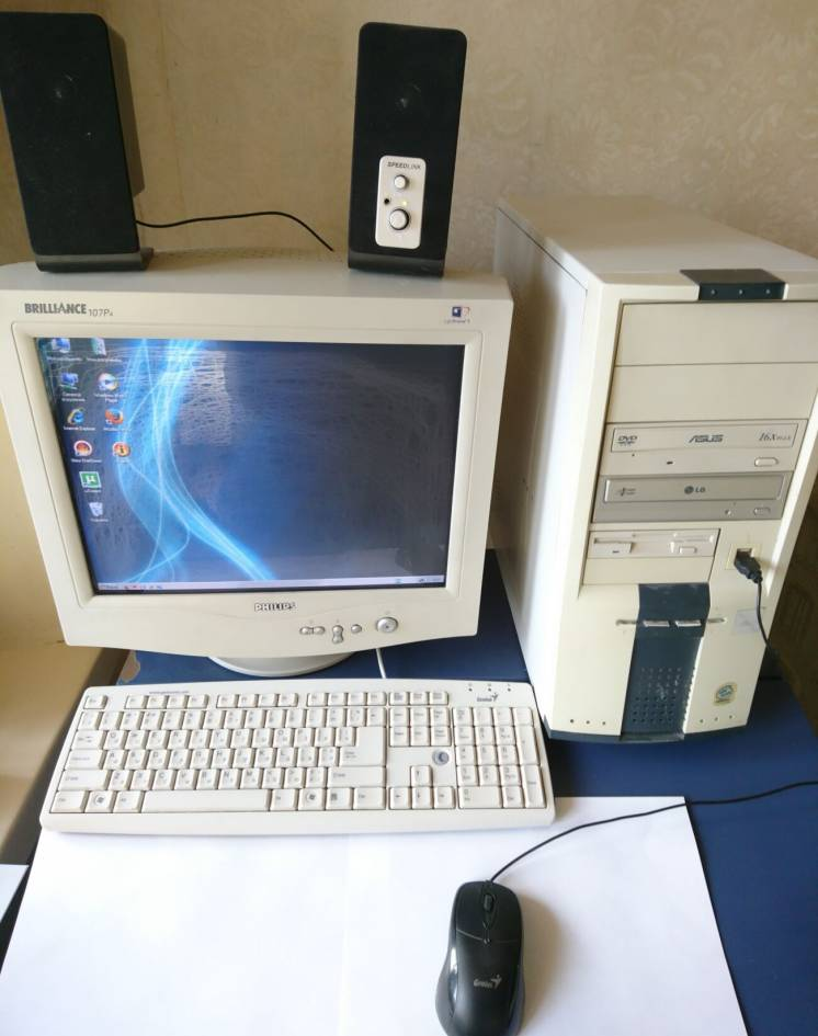 Компьютер: системный блок, дисковод, жесткий диск, SoDIMM DDR2 1Gb