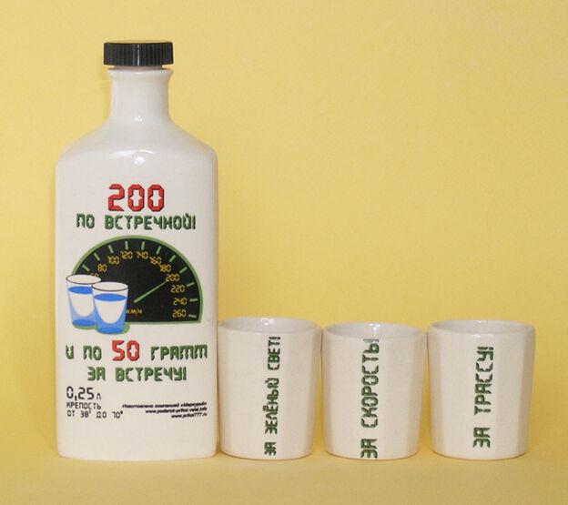 Подарочный набор ЗА ВОДИТЕЛЯ. Бутылка керамическая 0,25 л + 3 рюмки
