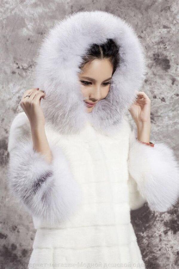 Женский зимний полушубок из искусственной норки и меха кролика капюшон