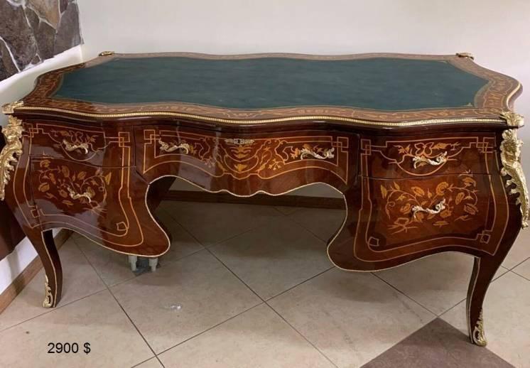 Письменный стол бюро  Рококо маркетри латунь