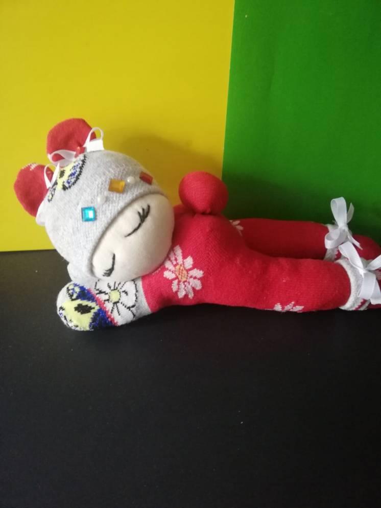 Интерьерная кукла спящий пупс из капрона