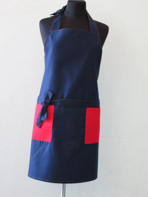 Фартук для сферы обслуживания, с красными карманами
