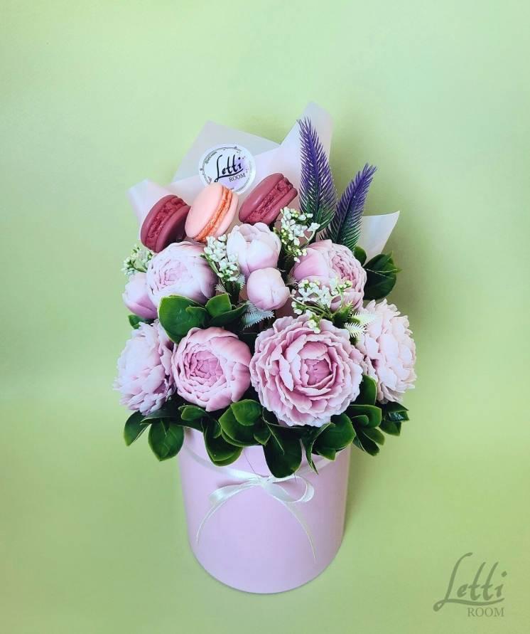 Букет пионов из мыла, мыльные цветы, подарок ручной работы, мыло