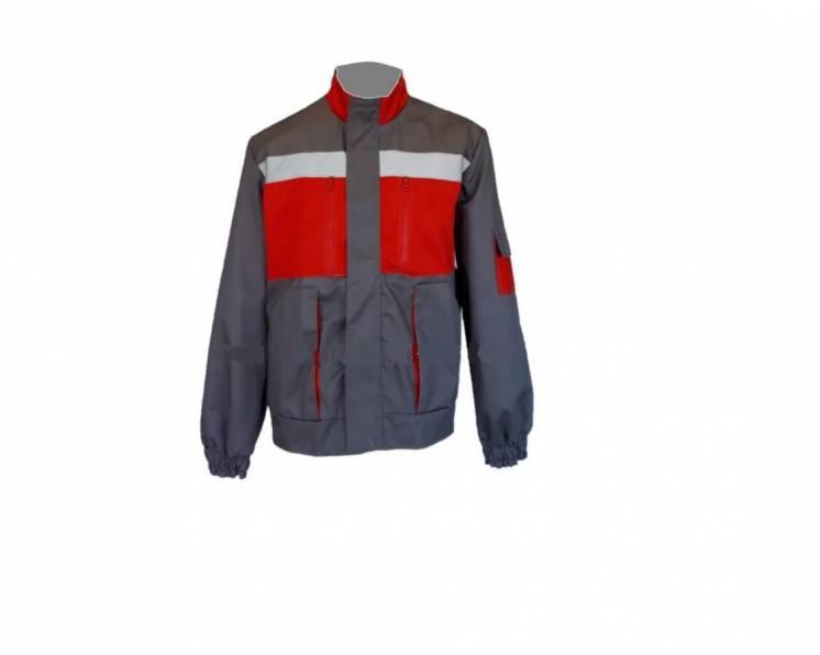 Куртка рабочая красная с серым