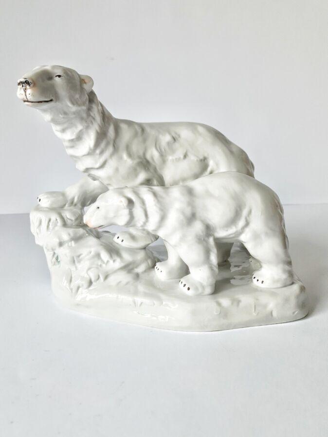 Фарфоровая статуэтка фарфор Полярный медведь медвежонок Carl Scheidig