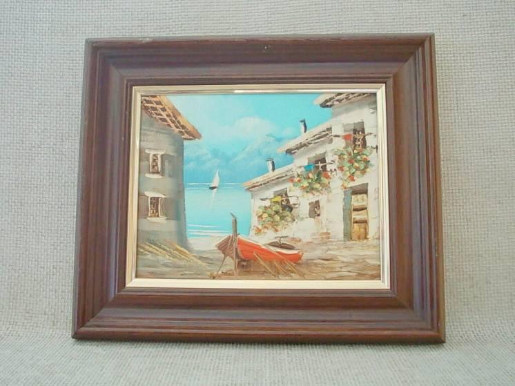 №740 Картина итальянского художника в раме 50 60 е годы Вид на бухту М