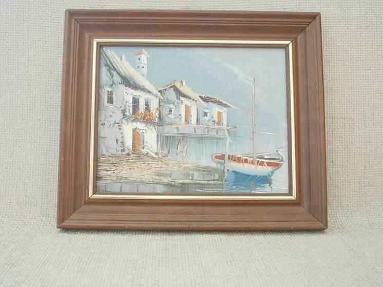 №739 Картина итальянского художника в раме 50 60 е годы Городок у моря