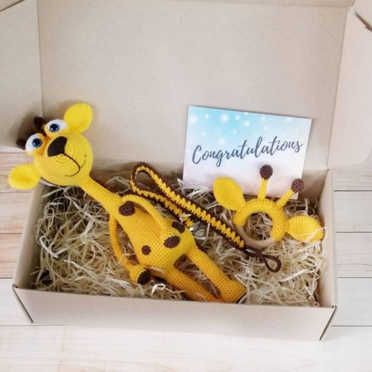 Подарочный набор для младенца с игрушкой жирафом, прорезывателем