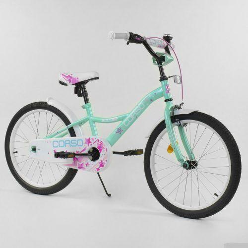 Велосипед 2-х колісний 20 дюймів Corso Бірюзовий,Детский