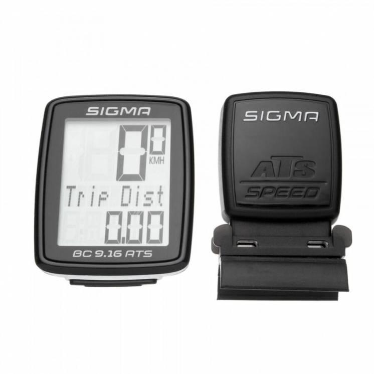 Велокомп'ютер бездротовий Sigma Sport BC 9.16 ATS Чорний з білим SD091