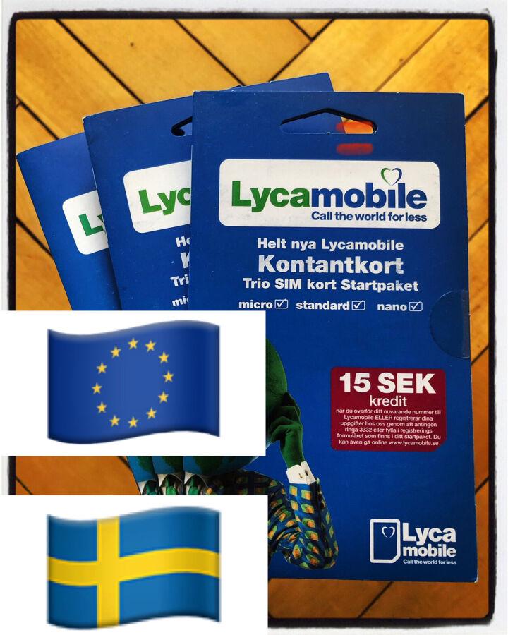 Сим/пополнения Lycamobile Европа Швеция роуминг/прием смс/регистрация