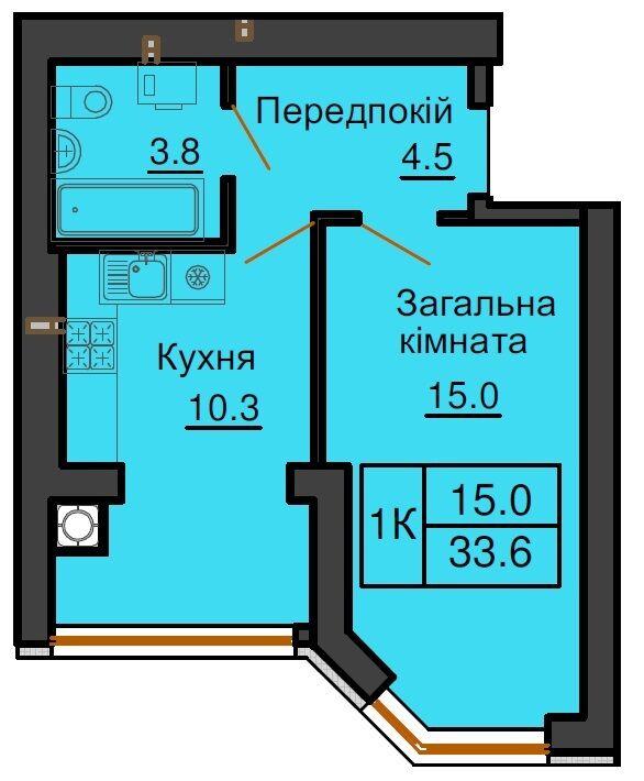 Продам 1 комнатную в ЖК София Сити от Мартынова ул.Королева 4