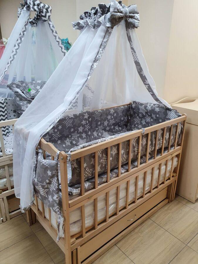 Акция! Комплект: кроватка маятник, матрас кокос, постель 8 элементов.