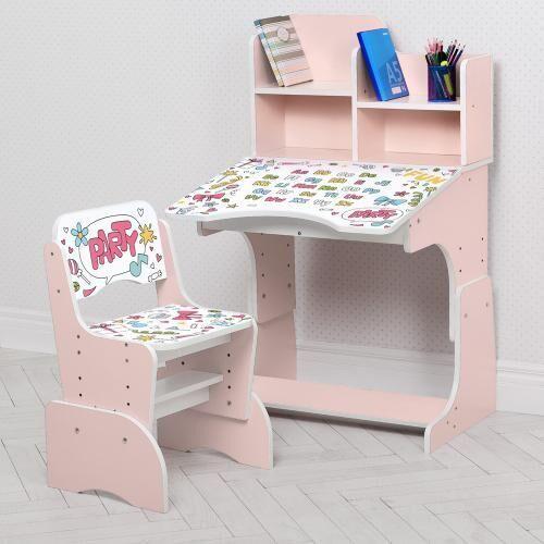 Детская регулируемая парта со стульчиком B 2071-104-10 Алфавит розовая