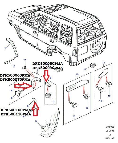 Накладки задних арок Land Rover Freelander 1998 - 2006 г.в.