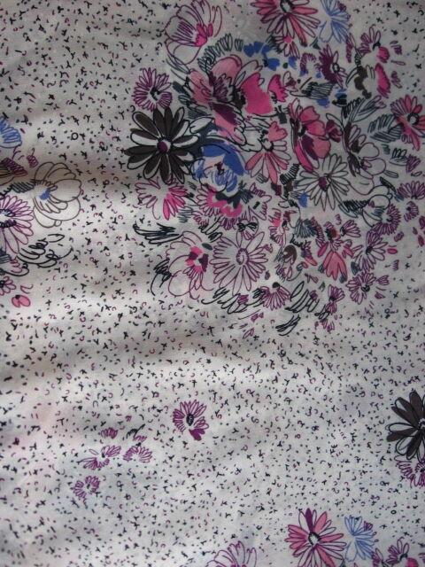 ткань летняя белая крепдешин шифон, принт цветы горошек чёрточки. торг