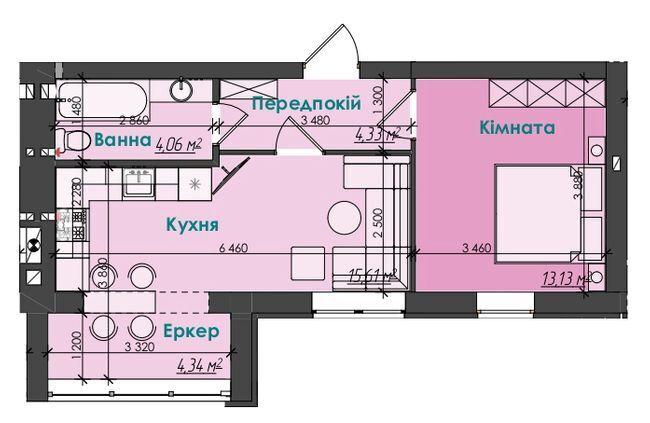 1 кім квартира 41,5м2 за 27 900 у.е.