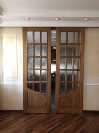 Дубовые двери межкомнатные раздвижные из массива, делались на заказ