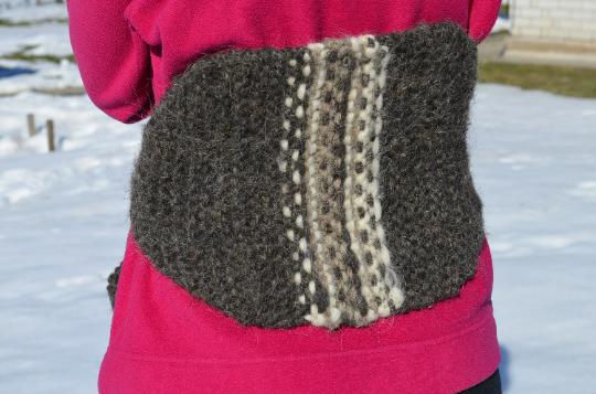 Лечебный вязаный пояс из шерсти для спины. Эко пояс ручной работы.