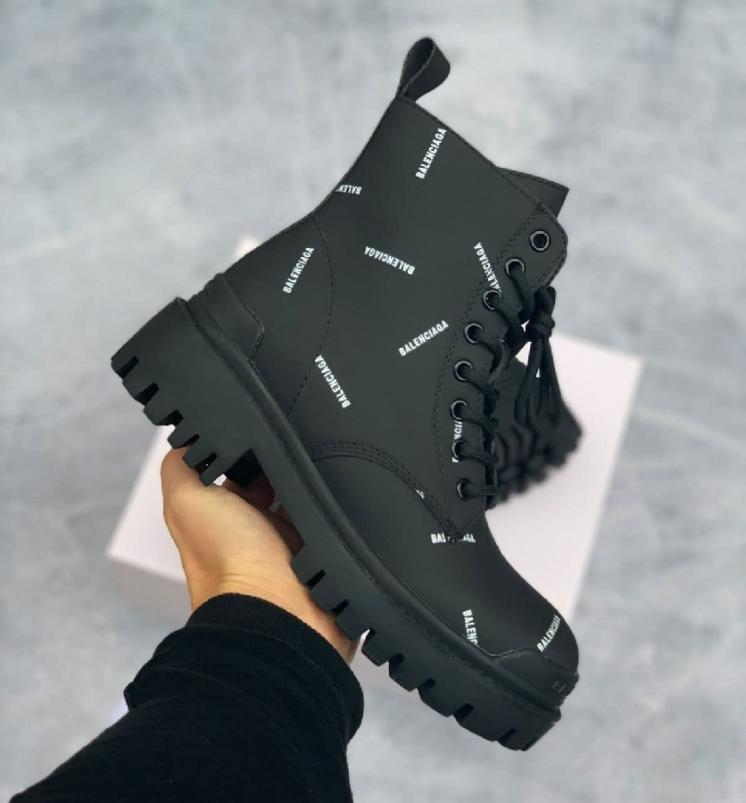Balenciaga All Over Logo Boots Black