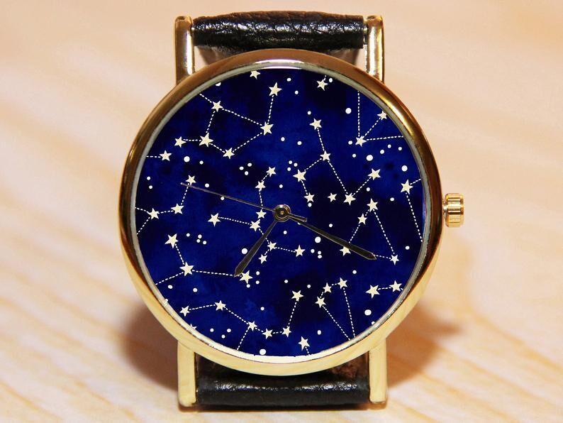Часы созвездие, часы галактика, часы космос, синие часы, женские часы