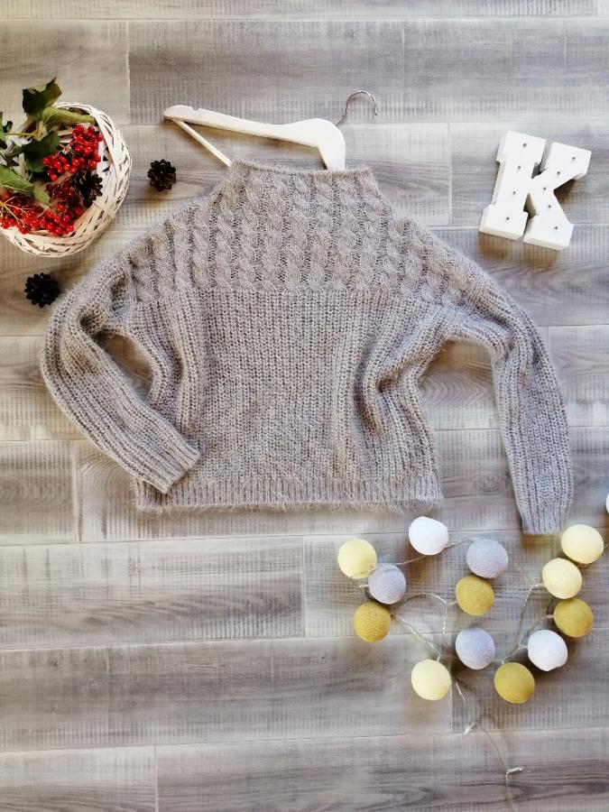 L-xl теплый мягкий серый свитер травка Next