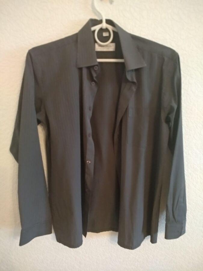 Серая мужская рубашка р-р 35 рост 164