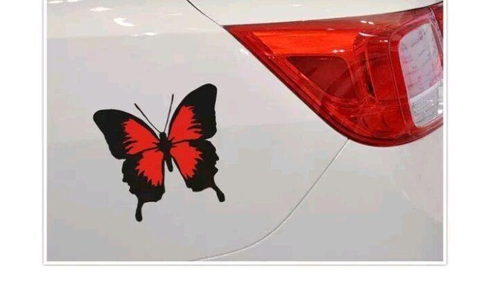 Наклейка на авто с бабочкой графический авто стикер на автомобиль