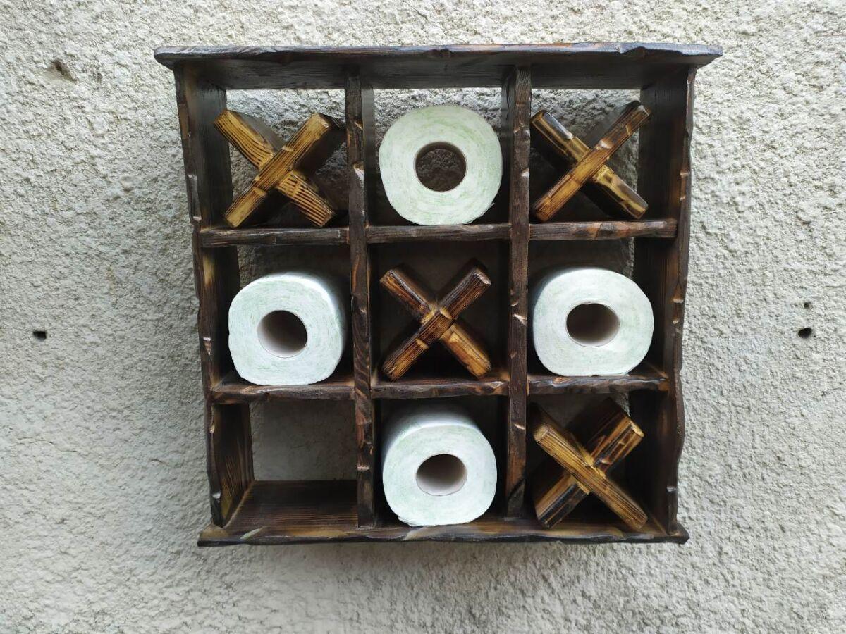 Полка для туалетной бумаги крестики-нолики,  полка из дерева в туалет