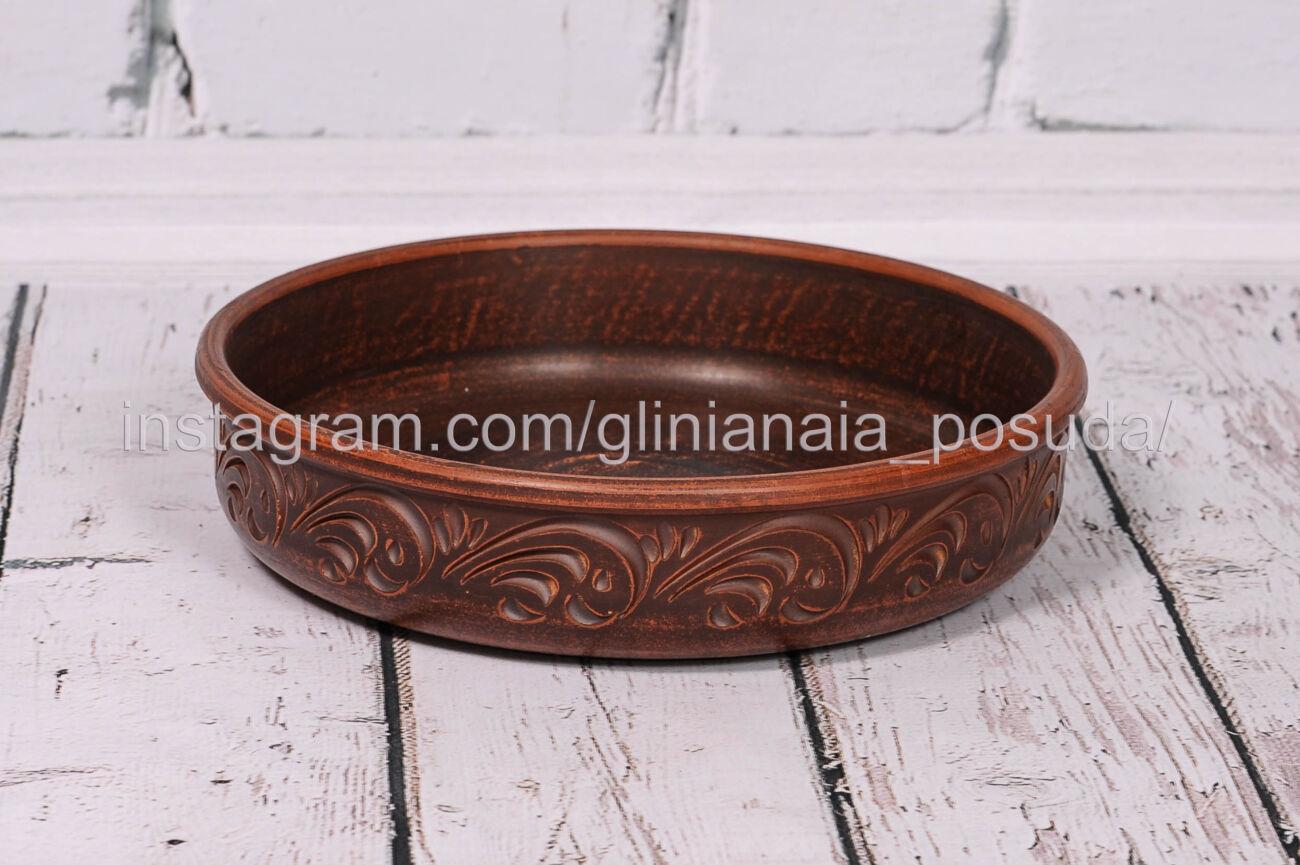 Блинница глиняная форма для запекания из глины тарелка 25 см посуда