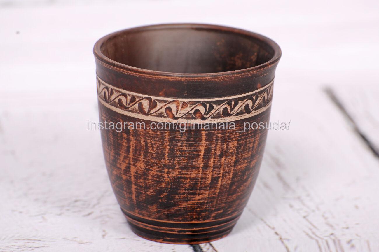 Стакан глиняный с декором кружка из глины посуда керамическая 200 мл