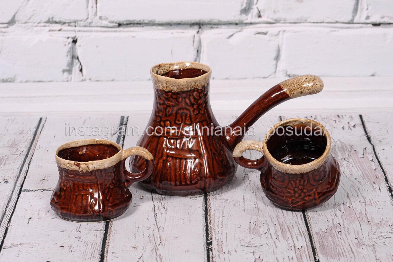 Турка из белой глины турки глиняные набор с чашками кофейный для кофе