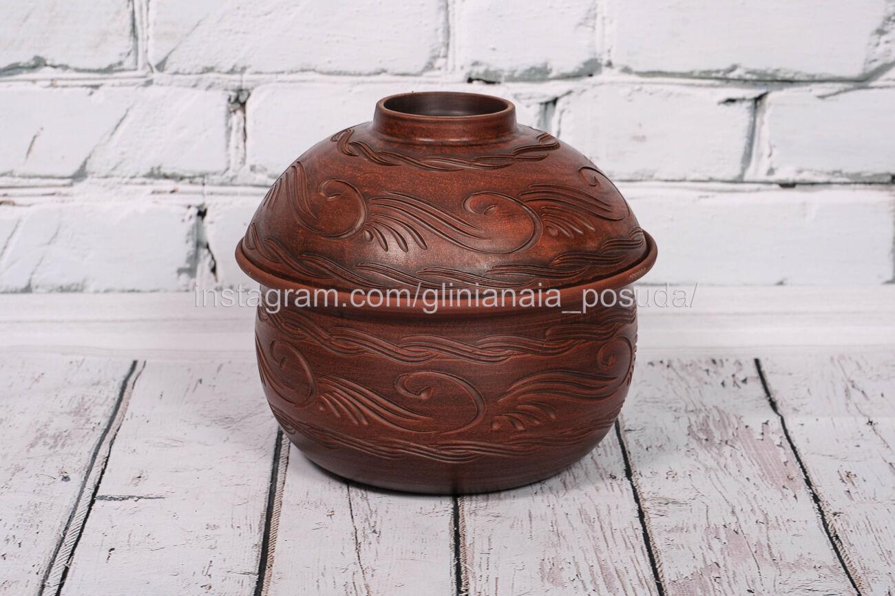 Хлебница 5 литров глиняная посуда из глины кастрюля ручная работа