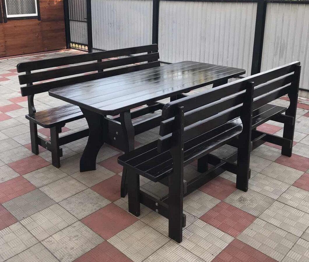 Стол и скамейки, садовый набор деревянный