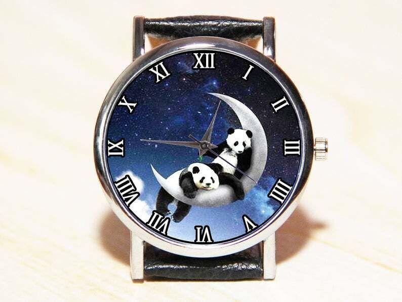Часы панды на луне, часы панды, часы луна, женские часы, мужские часы