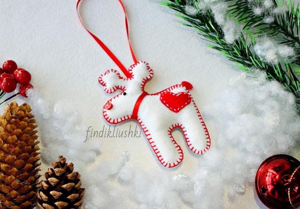 Новогодний олень. Фетровая игрушка на ёлку. Hand made!
