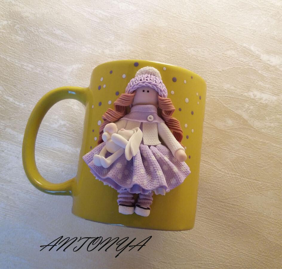 Чашка(кружка) и ложка с куколками