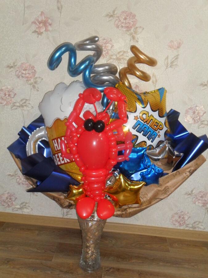 Крафтовый букет шаров Супер Папа