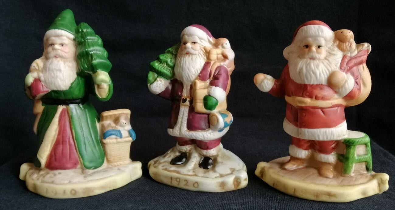 6 фигурок - Santa through the years - Санта через года - винтаж ручная