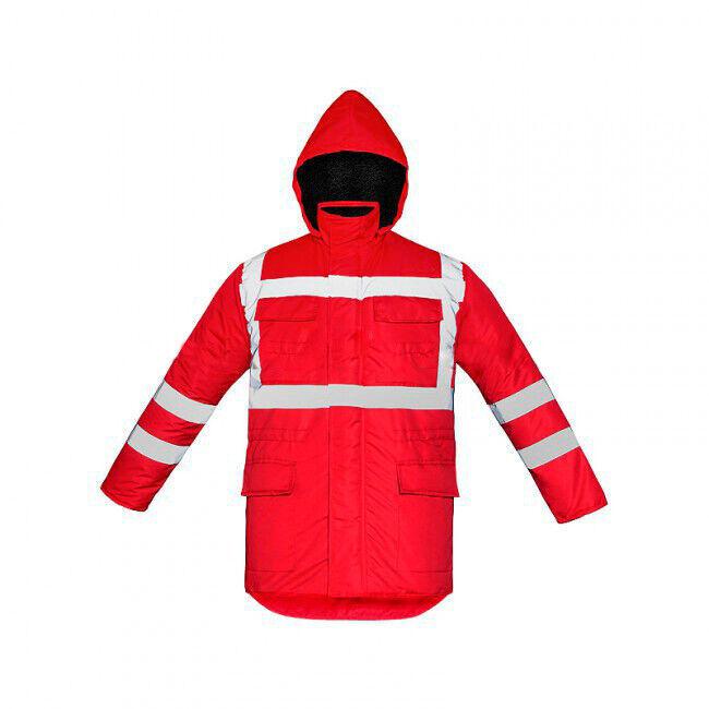 Куртка утепленная сигнальная красная, СВП лента