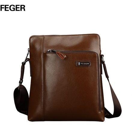 Мужская кожаная сумка на плечо, коричневая BF003