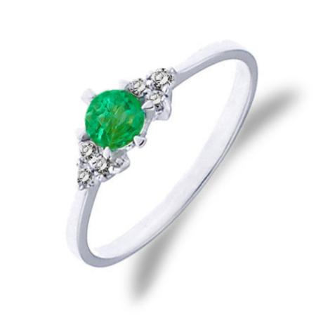Золотое кольцо с изумрудом и бриллиантами 0,12 карат. Белое золото ... 8521157210e