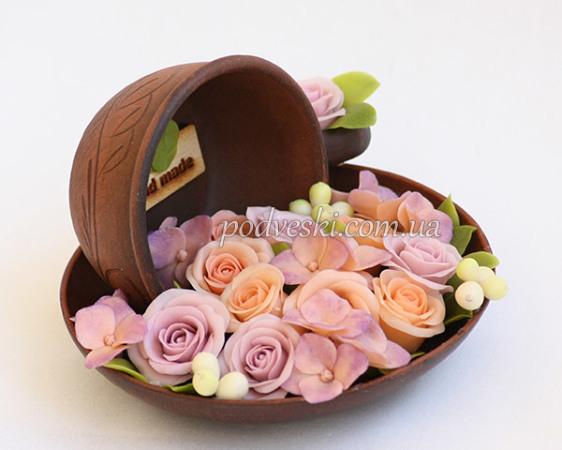 Фото - Цветы в чашке - розы и гортензии ручной работы