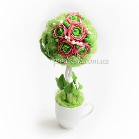 Декор подарочный: дерево счастья с цветами ручной лепки 26 см