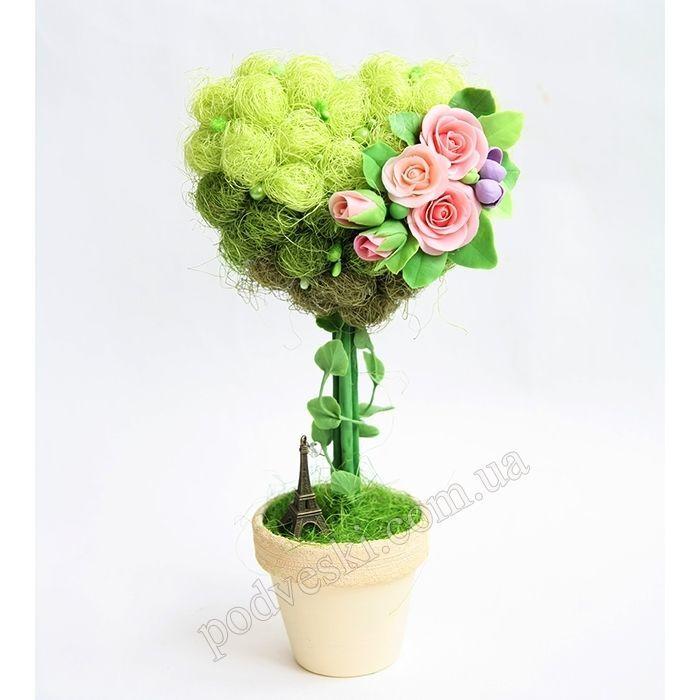 Дерево счастья с цветами ручной лепки