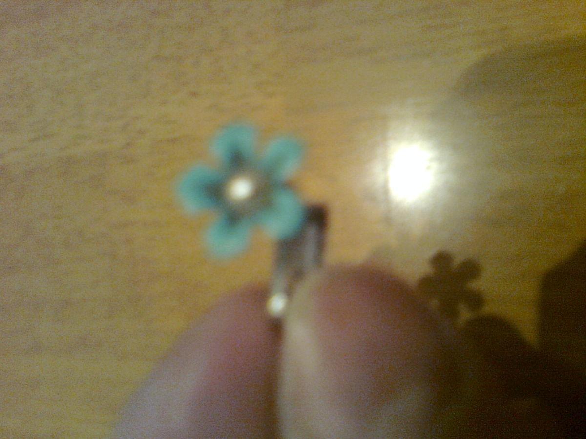 Фото 4 - Клипсы - бирюзовый цветок с жемчужиной внутри. ретро - СССР